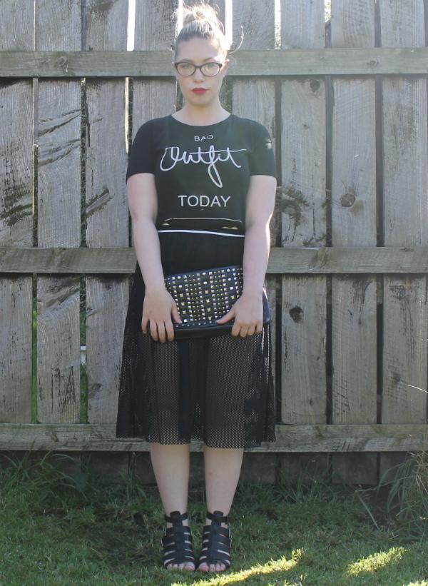 Slogan Tee, Topshop Midi Skirt, Black Sandals, Miss Selfridge Clutch