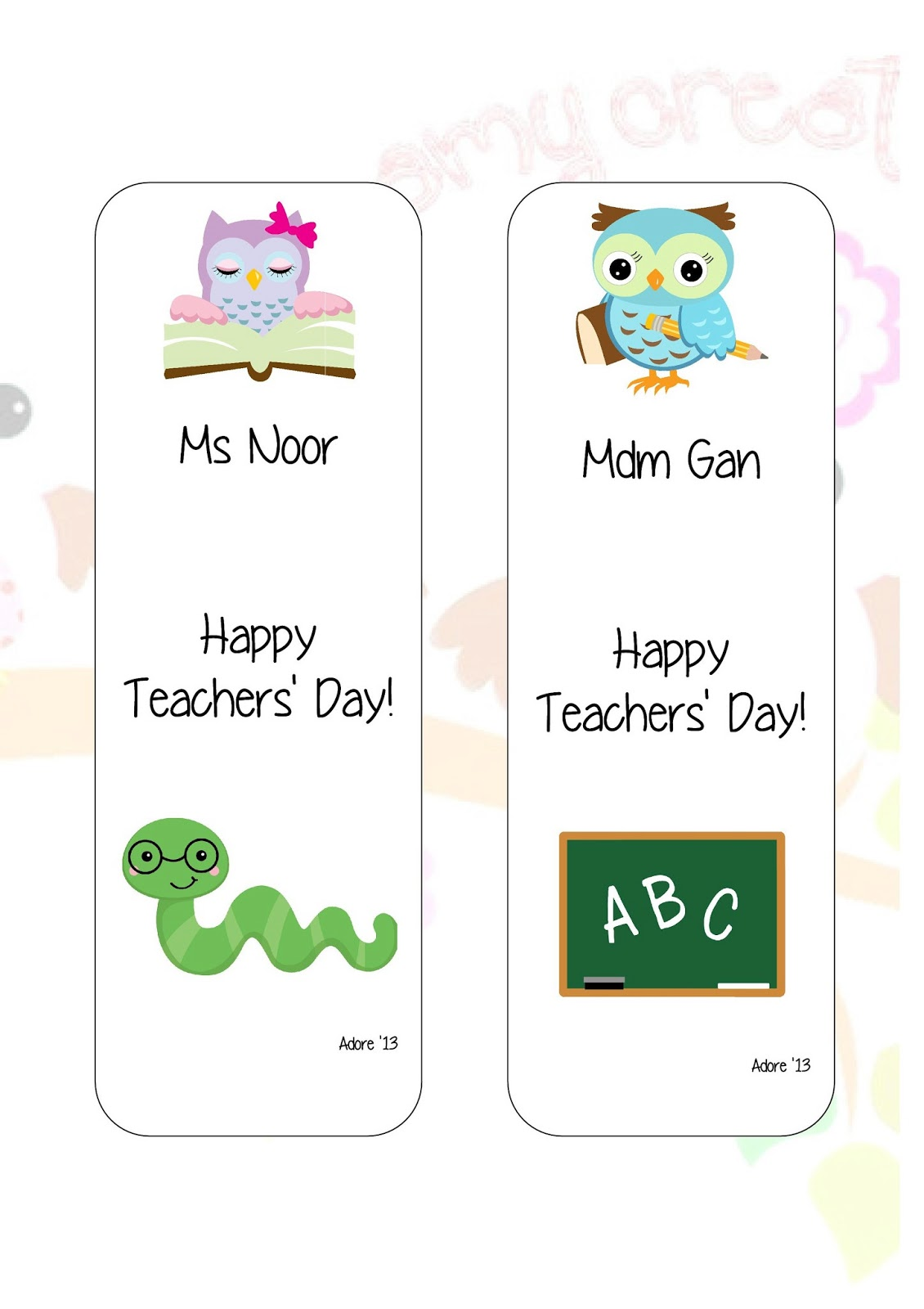 bookmarks for teachers day just bcause