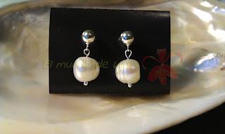Pendientes Plata de ley y perla cultivada