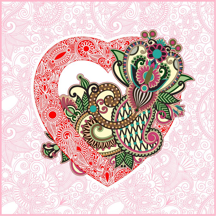 ハート型のバレンタインデー ラインアート heart-shaped Valentine's Day line art イラスト素材