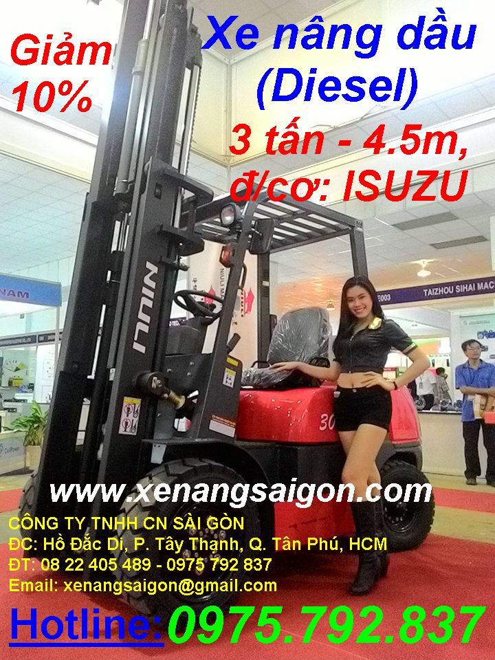 Khuyến mãi: Xe nâng dầu 3t - 4.5m, chui cont, đ/c ISUZU-Nhật, giá cực sốc (Lh 0975 792 837)