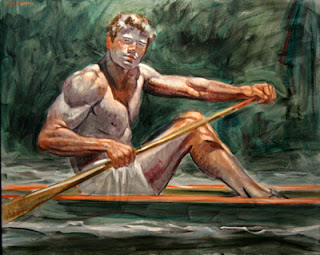 Study+for+%22Unknown+Rower%22+,+Oil+on+c