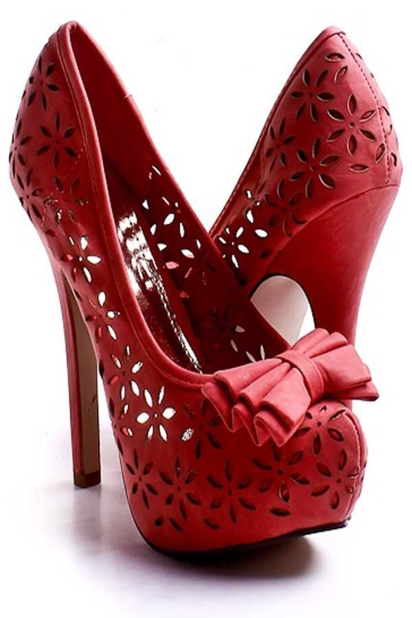 Coral Faux Leather Floral Cut out Bow Tie Platform Heels