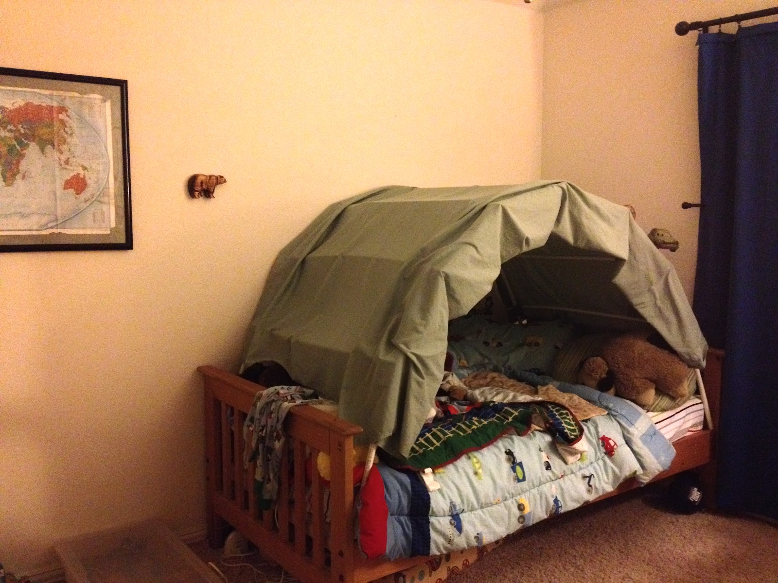 Home Made Tent Bed For Single Bed & Bella Blue Jungle: Home Made Tent Bed For Single Bed