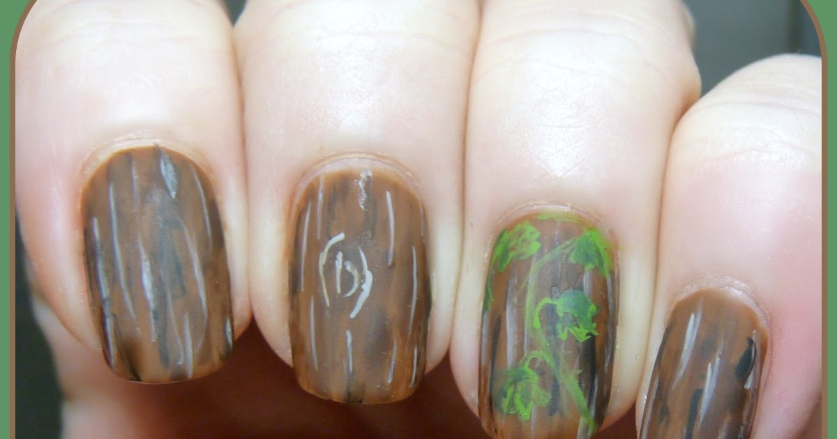 The Digit-al Dozen Does Nature: Day 4 - Wood and Ivy Nail Art ...