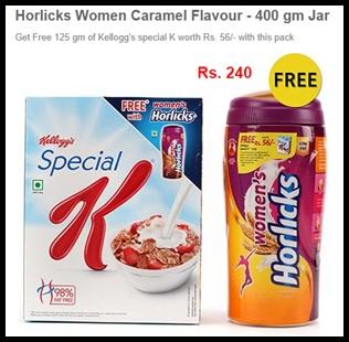 Buy Horlicks Women Caramel 400gm & Get Free 125 gm of Kellogg's Special K.