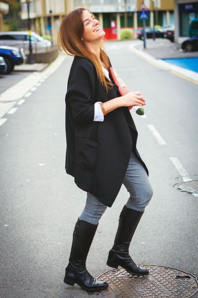 BOHODream , Es Cuestion de estilo , Lucía Díez , Streetstyle, ,Bota alta negra , Massimo Dutti ,Zara