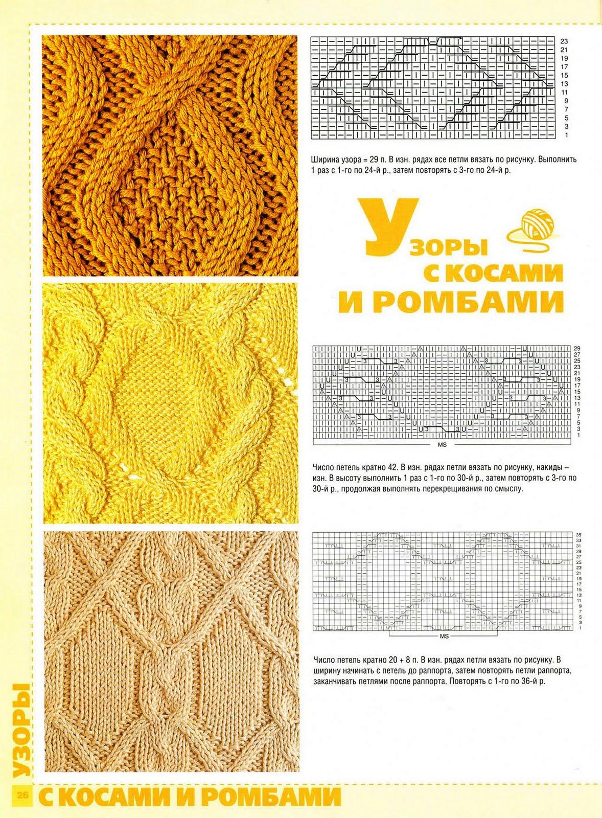 Схема вязания косами и ромбами