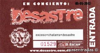 entrada de concierto de desastre en barcelona