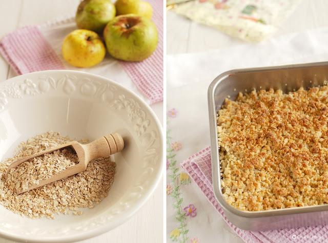 Crumble de manzanas con copos de avena