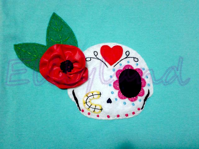 Camiseta Calavera Mexicana Mini-Elily Hecha a Mano