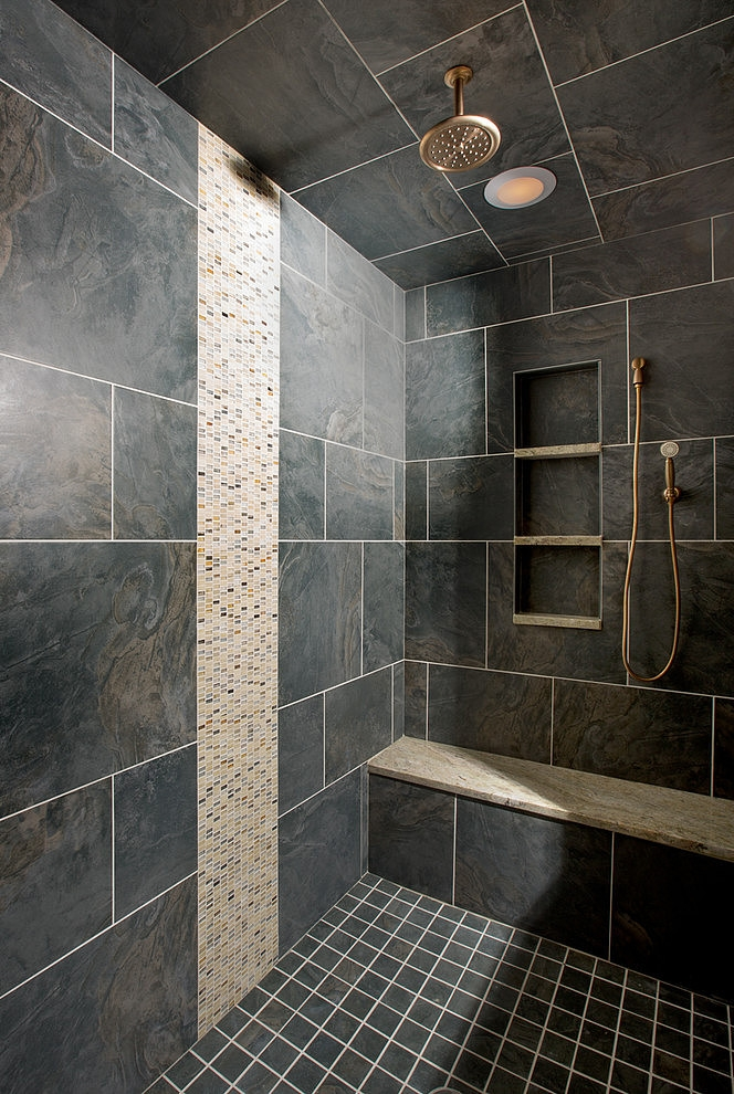 Second dark shower cabin in Craftsman style home in Dublin, Ohio