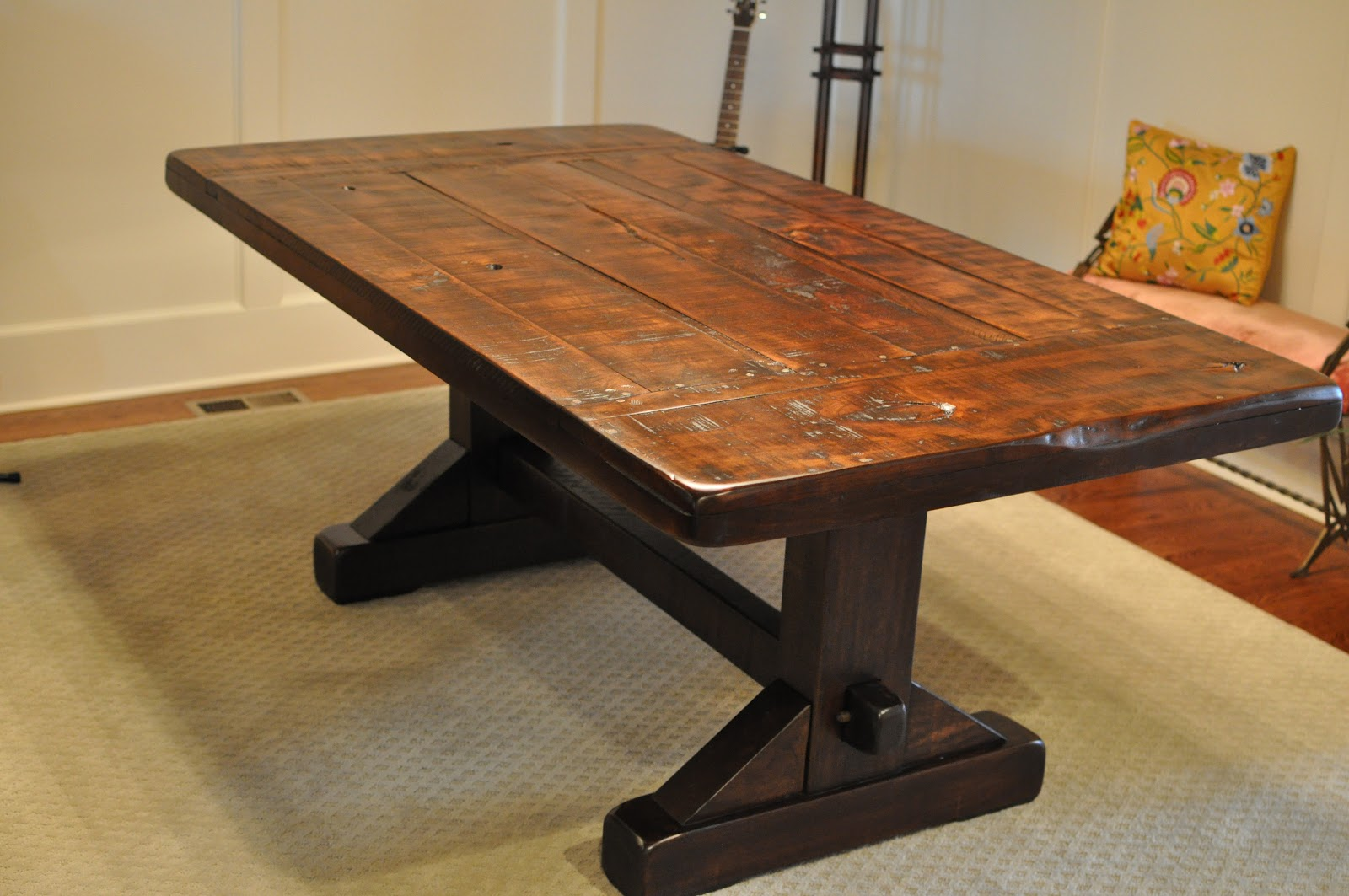 The Emerson Rustic Trestle Dining Table Atlanta Georgia Rustic Trades Furniture