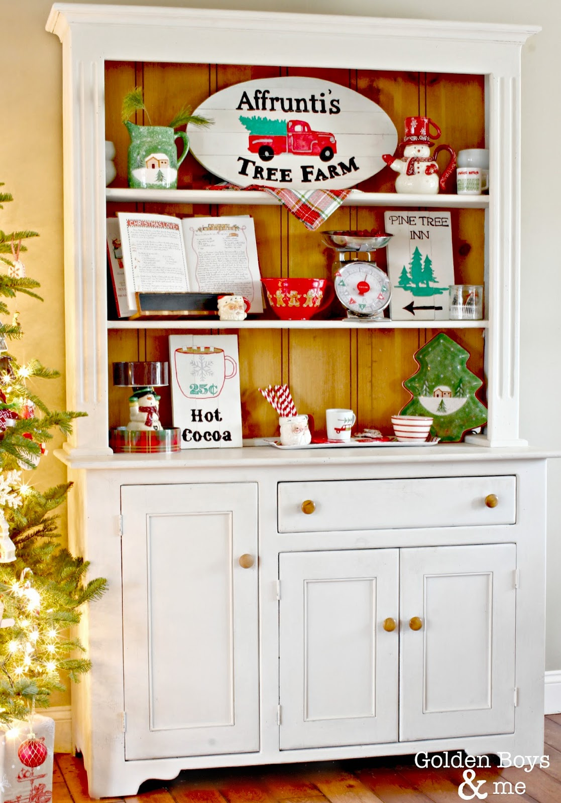 White hutch with DIY hand painted signs at Christmas-www.goldenboysandme.com