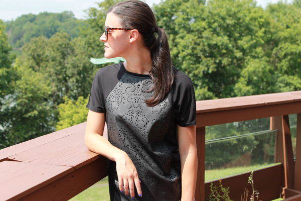 faux leather laser cut tee