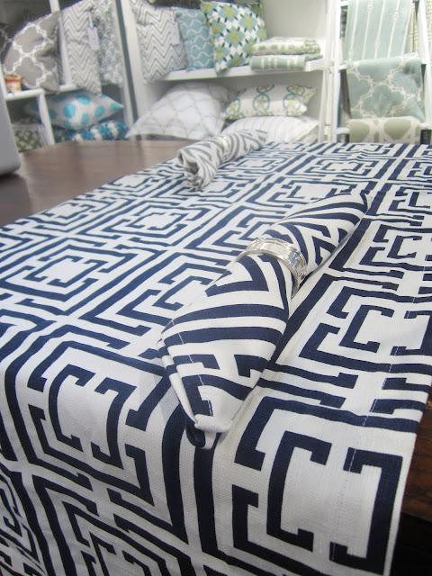Nbaynadamas Logo Navy table runner and napkins from the New York International Gift Fair