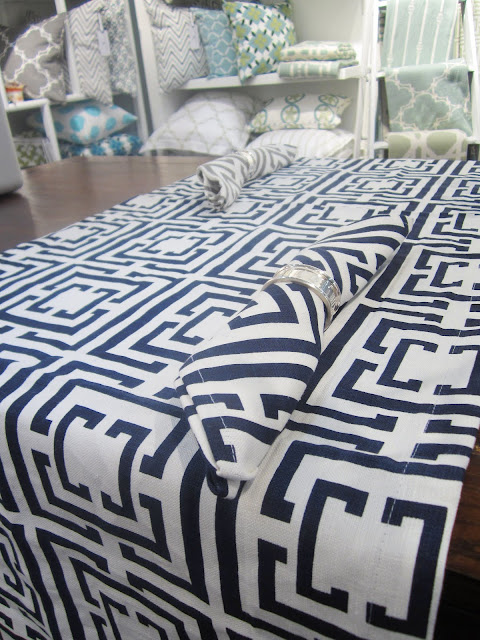 COCOCOZY Logo Navy table runner and napkins from the New York International Gift Fair