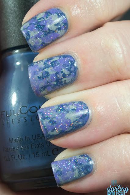 nails, nail art, nail polish, tri-polish challenge, china glaze fairy dust, splotches, blue, purple, grey