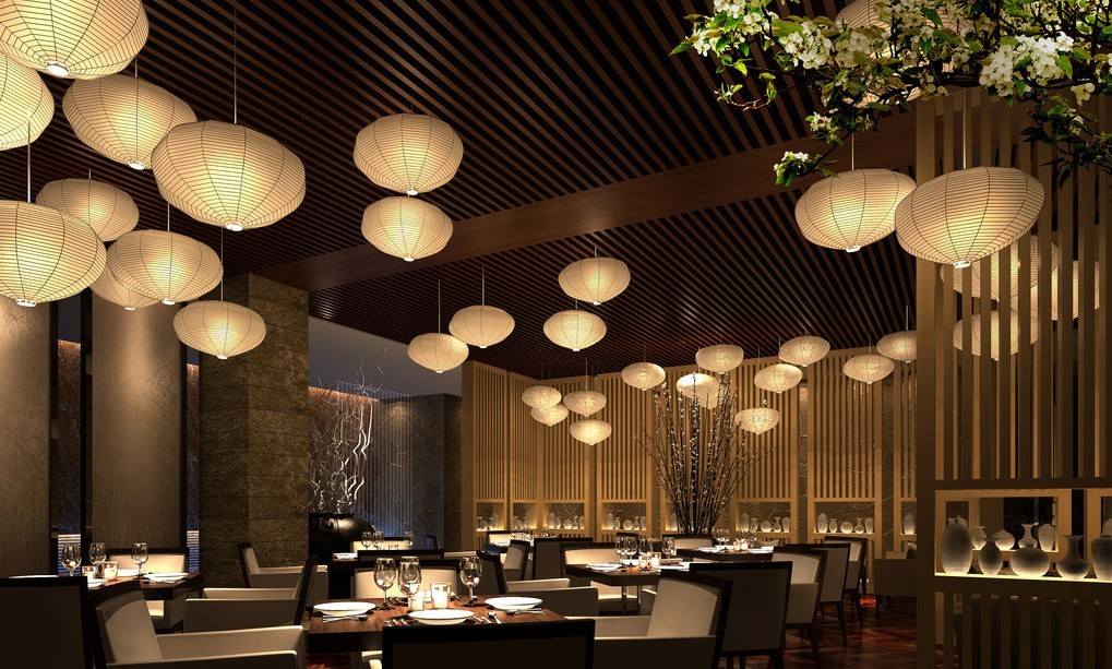 Wood wall and ceiling with bamboo lamps in restaurant Restaurant lighting ideas