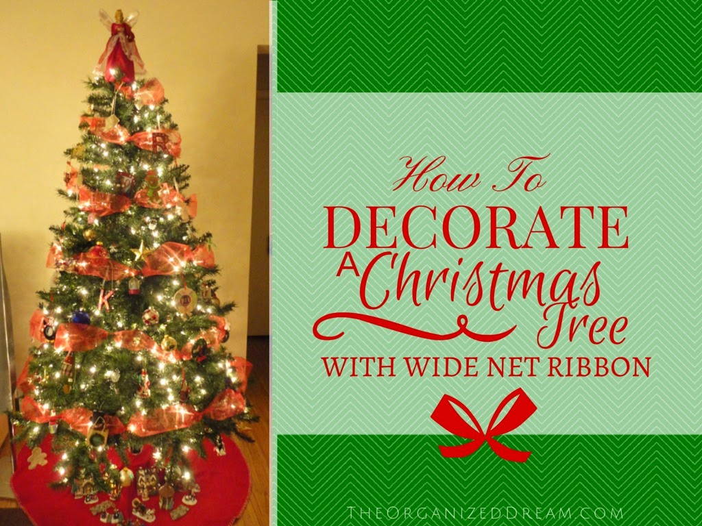 how to decorate a christmas tree with wide mesh ribbon