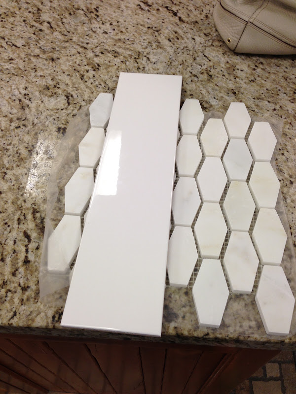 the tile i chose is 4 x 16 white tile from florida tile, available  title=