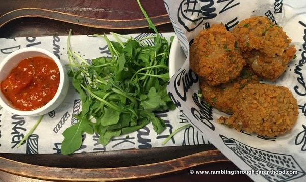Arancini Funghi - mushroom risotto balls with mozzarella at Bella Italia