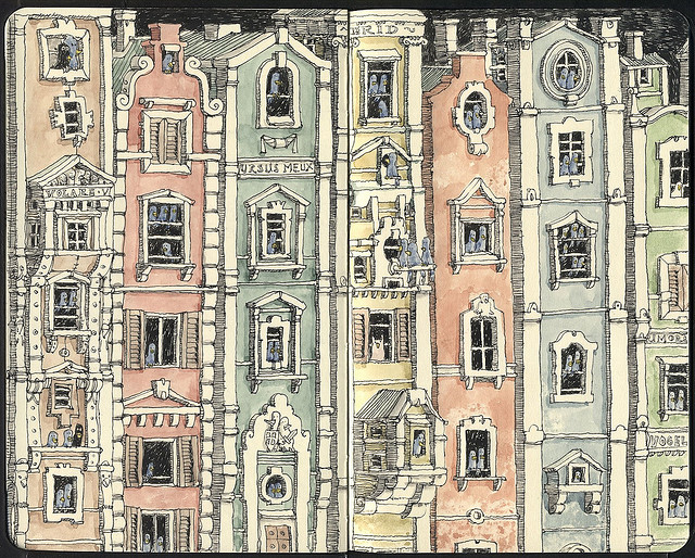 03-53-Birds-And-One-Owl-Mattias-Adolfsson-Surreal-Architectural-Moleskine-Drawings-www-designstack-co