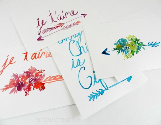 Watercolor Lettering Art, arrows and flowers, Grow Creative
