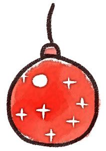 クリスマスの玉飾りのイラスト 赤