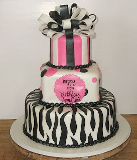 3 tier zebra cake with bow