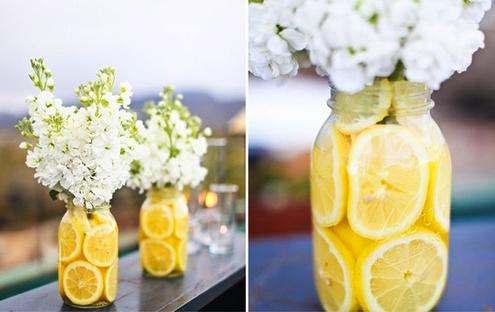 Con rayas y lunares aroma a jazm n - Centros de mesa con limones ...