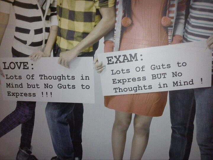 Difference between Love and Exams ~ funny thought image