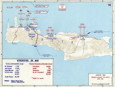 Map of German assault on Crete in May 1941