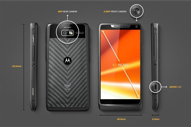 Motorola Razr i-Intel 2GHz processor android smartphone