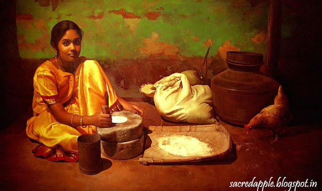 Tamil Girl Making Rice Flour