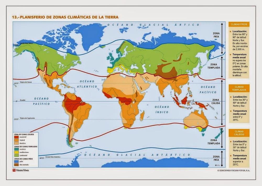 Mapas: Zonas o Regiones Clim�ticas del Mundo - Planisferio clim�tico