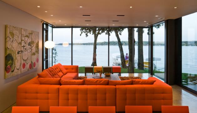 Modern house ideas of orange modern living room decoration