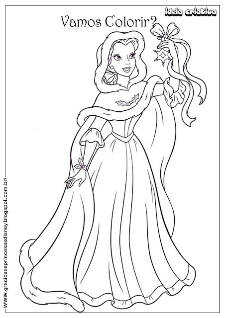 Princesa Disney Natal Bela Colorir