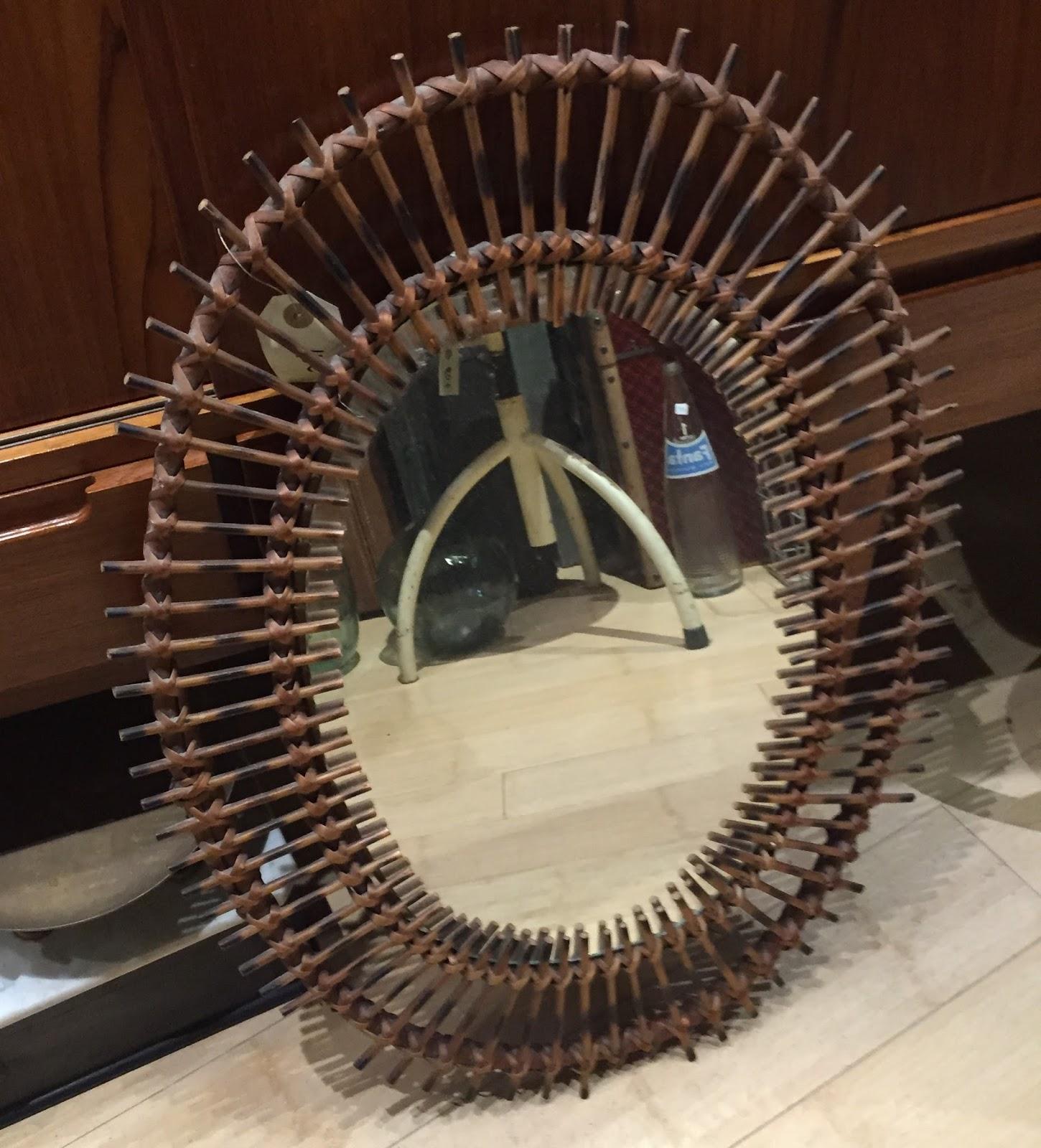 Espejo de mimbre ovalado vintage jacoboansin - Espejos de mimbre ...
