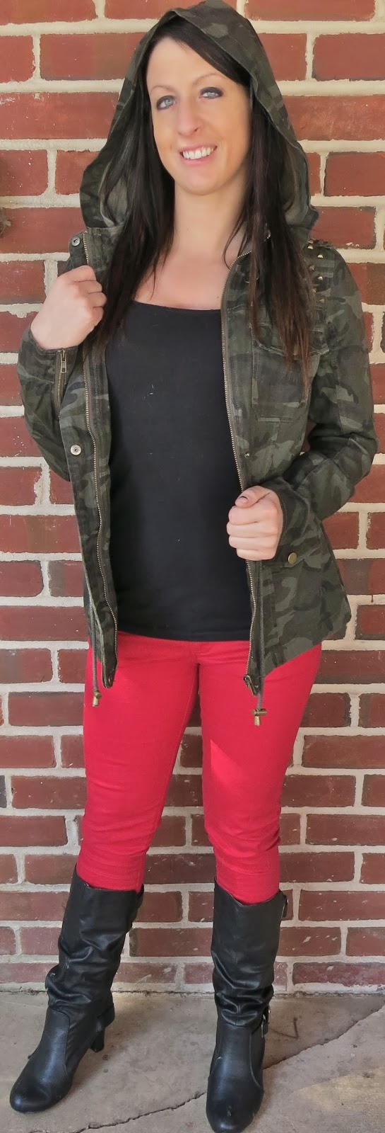 annie jean apparel, camo, Fashion, ootd, Outfit Ideas, outfit of the day, Outfits, red pants