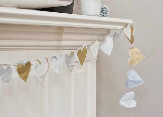 Metallic Tissue Paper Heart Garland