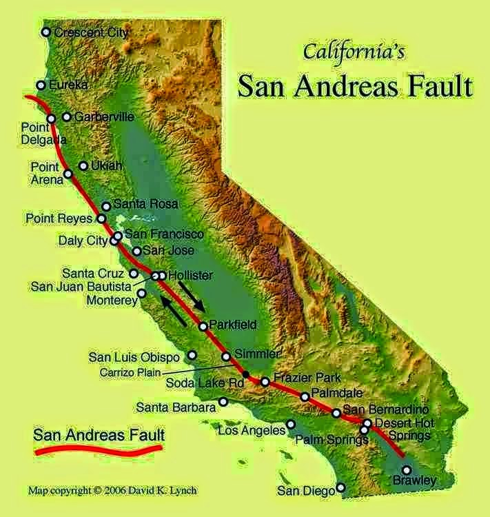 The extent of and movement on the San Andreas Fault. Geology .