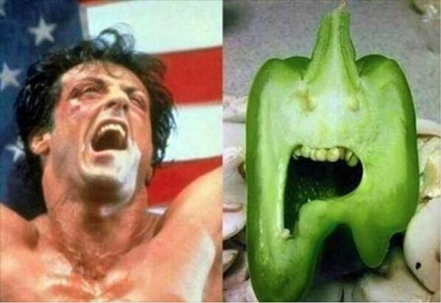 Sylvester Stallone and pepper
