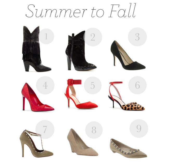 Fall must have shoes 2012. Fall trend. Studded flats. Strappy pumps. Western style boots. Booties.