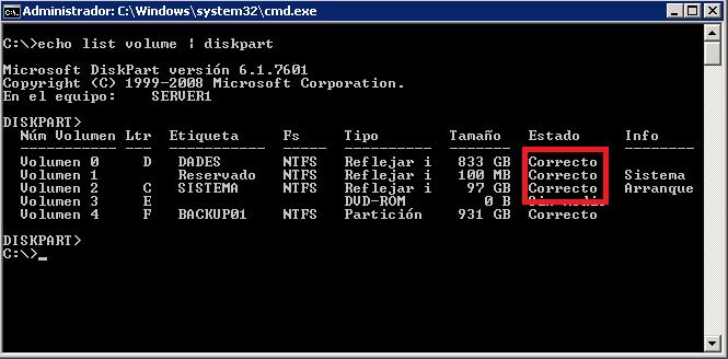 Monitorización de estado de software RAID con Windows Server