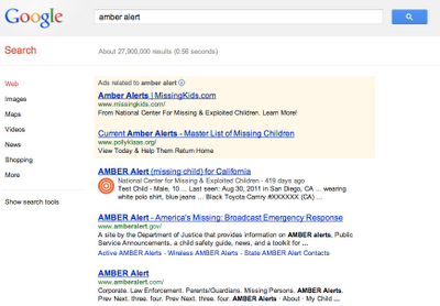 AMBER Alerts missing children Google