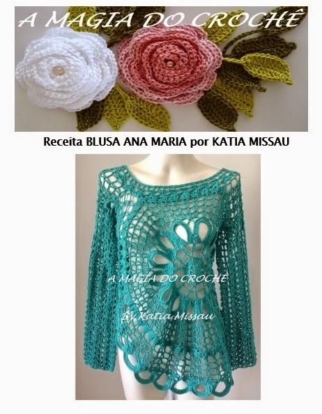 Receita  Blusa Ana Maria em Pdf ou Impressa