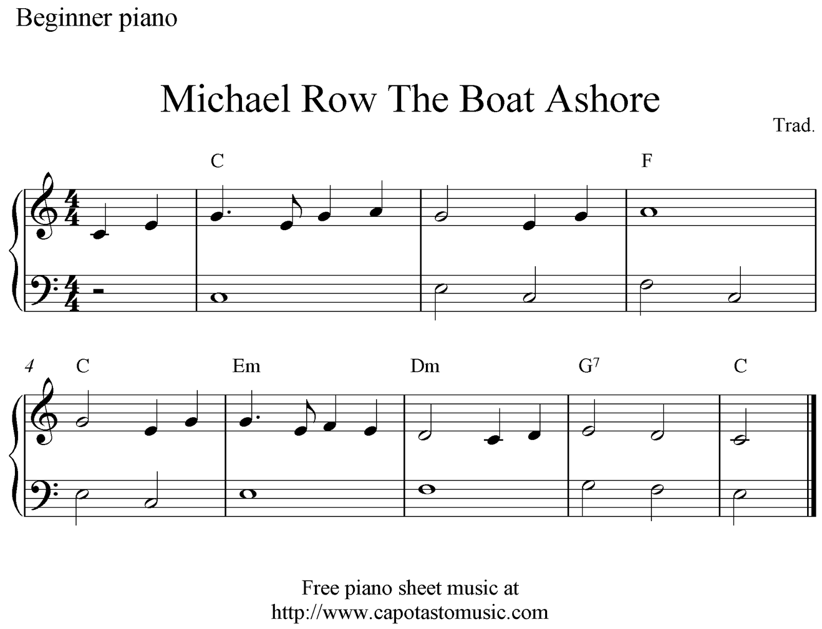 Free easy piano sheet music for beginners, Michael Row The Boat Ashore