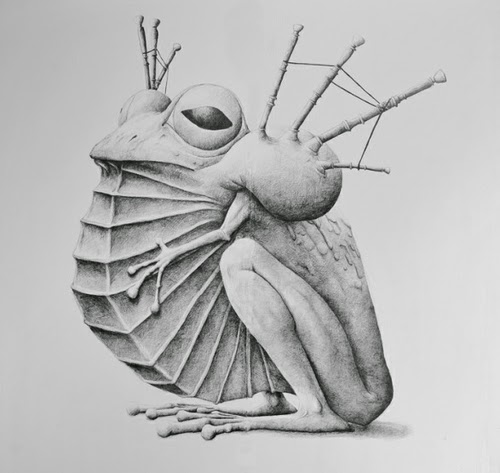 12-Bagpipe-Frog-Redmer-Hoekstra-Surreal-Animals-Ink-Drawings-www-designstack-co
