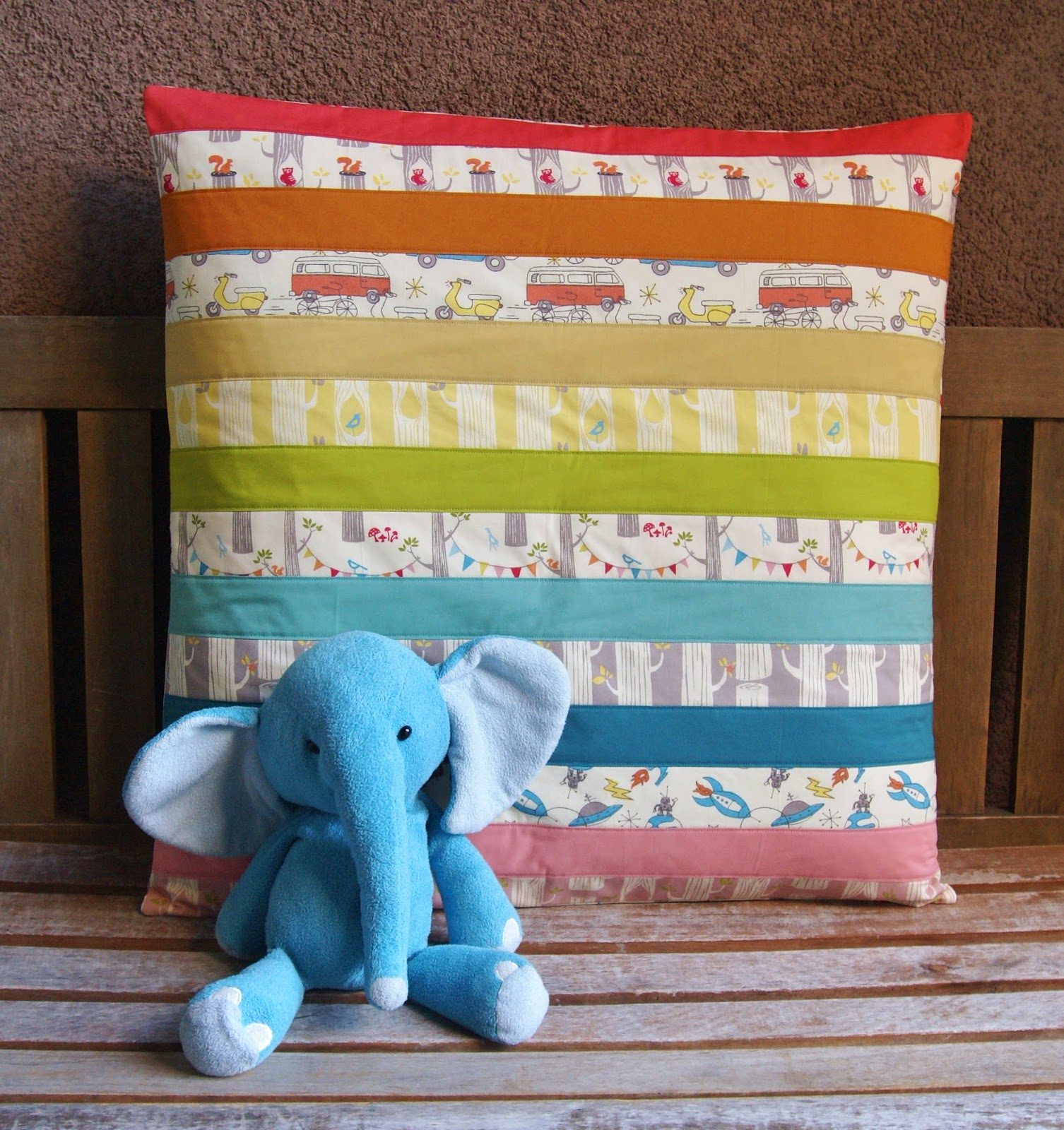 Rainbow Circa 52 Floor Pillow for Birch Fabrics by Fabric Mutt